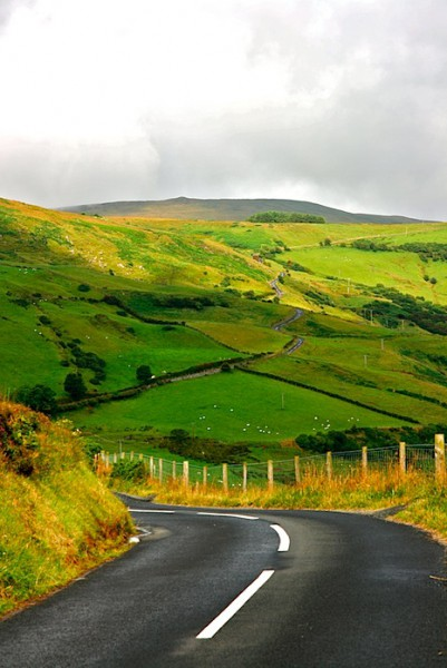 Road snaking through Irish hills