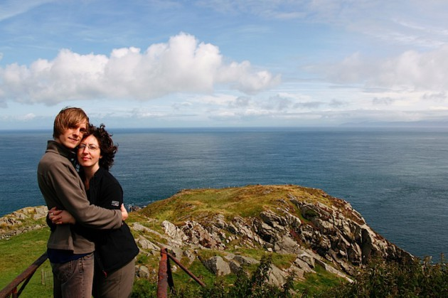 Us at Torr Head, Scotland on the right hand side