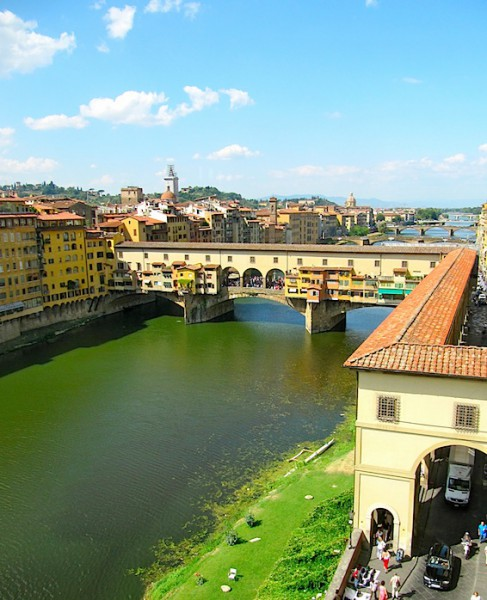 View over the river from the Uffizi gallery