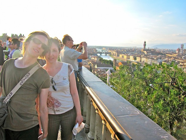 Katherine and I on the Piazza Michelangelo