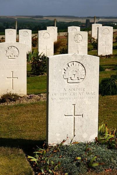 Headstones at the Australian National memorial at Villers-Bretonneux