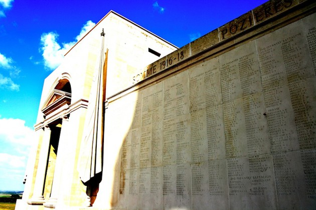 Names of missing soldiers on the walls of the Australian National memorial at Villers-Bretonneux