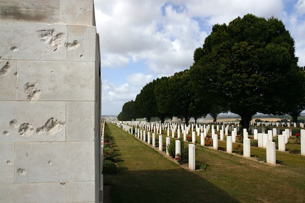 Scars on the Australian National memorial at Villers-Bretonneux