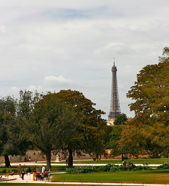 Tuileries Gardens with the Eiffel Tower in the background