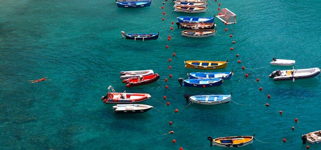 Boats in Vernazza's harbour