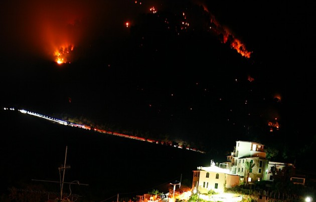 Fire over Corniglia