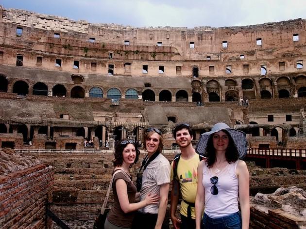Katherine, I, Timmy, Jen Colosseumming it up