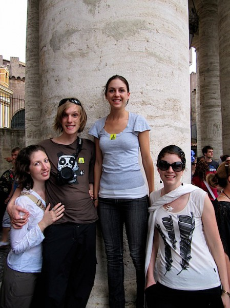 Katherine, I, Annie and Jen on one of the Vatican's pillars