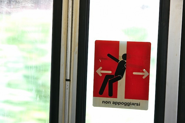 Warning sign on the train