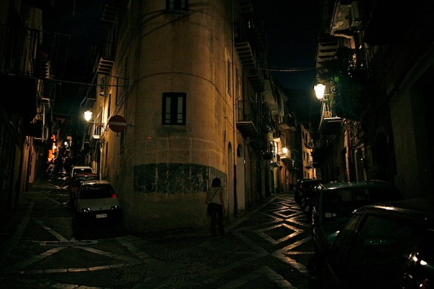 The streets of Cefalu by night