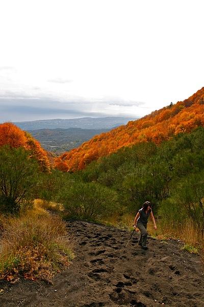 Climbing the ashy slopes