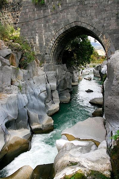 Ancient, Arabic-style bridge over the Alcantara river