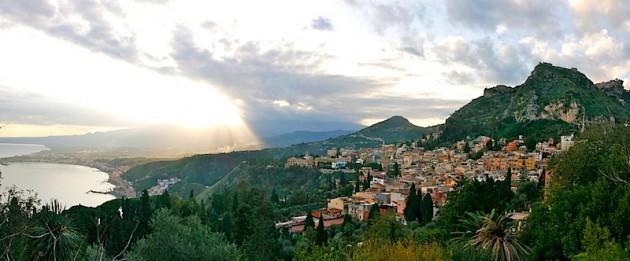Taormina, looking towards Mount Etna and Giardini Naxos