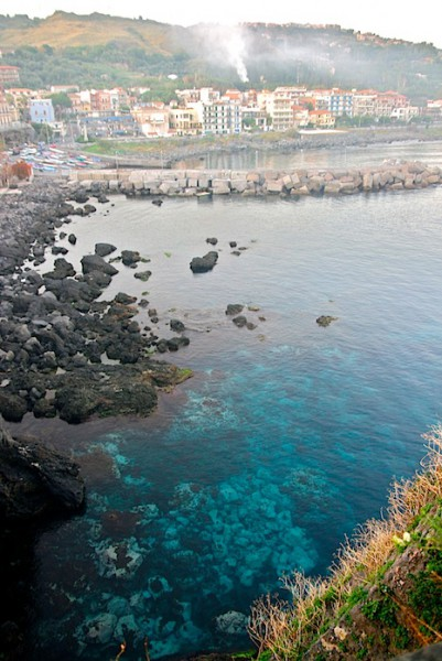 The blue water in Aci Castello