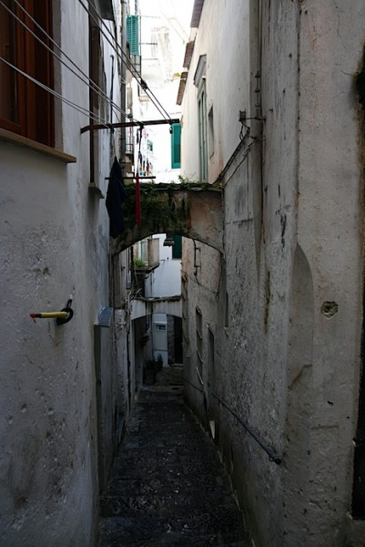 A canyon of apartment buildings in Amalfi