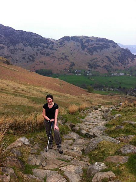 Climbing Helvellyn, Glenridding in background