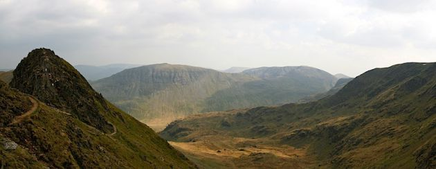 Mountains surrounding Helvellyn and Striding Edge
